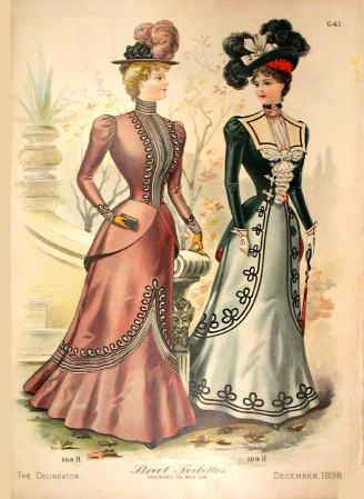 The Delineator, December 1898. Love both designs but I was seriously considering imitating the one on the right (at least around the hem)