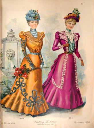 The Delineator, December 1898. The skirt on the left doesn't look like soutache but I still like the trim