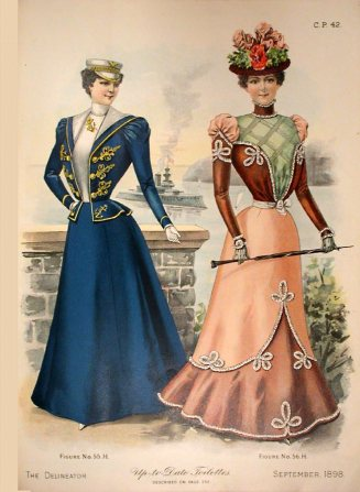 The Delineator, September 1898. While I'm loving the captain style on the right, I was looking at the skirt on the left