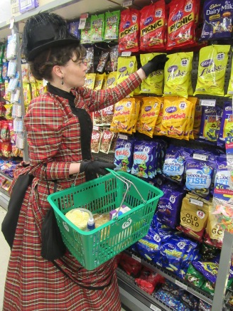 Shopping for treats and snacks inside the supermarket