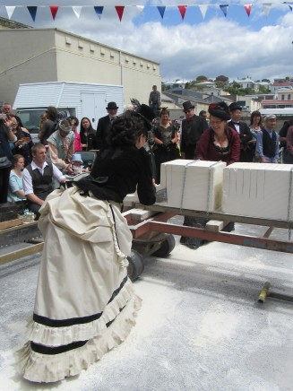 Liane and Cheryl competing in the Stone Sawing Competition