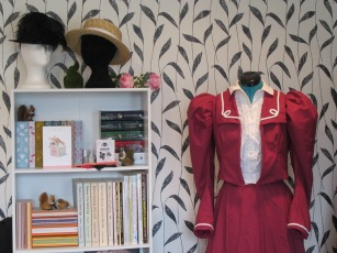 The finished Eton Jacket, teamed with the skirt and a shirtwaist (also the boater that's on the top of the bookcase)