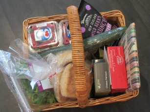 Lunch and tea party supplies packed into my new basket
