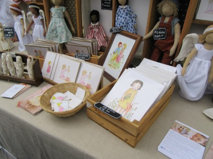 Some of the prints and dolls Hilary made