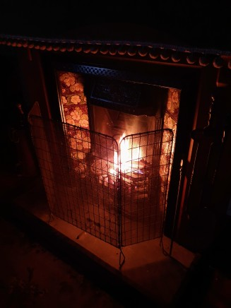 The fireplace in the bedroom