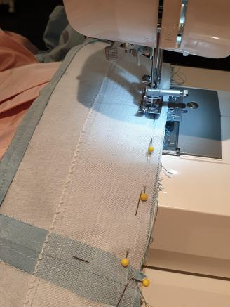 Sewing on the hem facing with horsehair braid